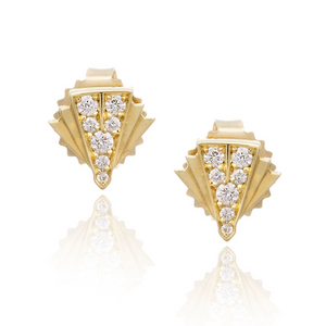Gold and Diamond Post Earrings