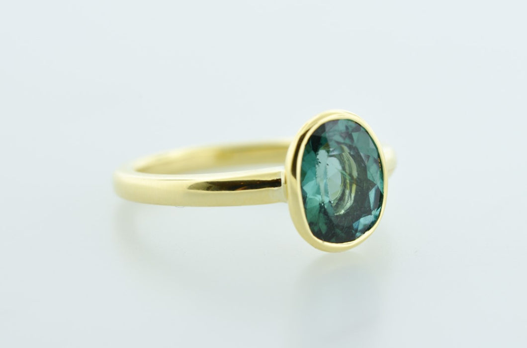 Blue Tourmaline Ring in 14 Karat Yellow Gold