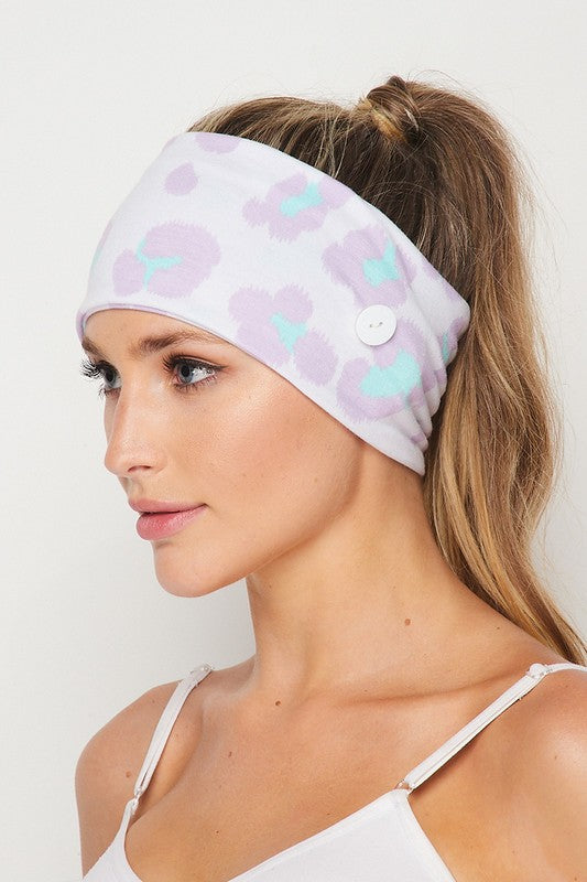 Cheetah Lilac Facemask and Headband (sold separately or as a set)-Accessories-Max & Riley-Max & Riley