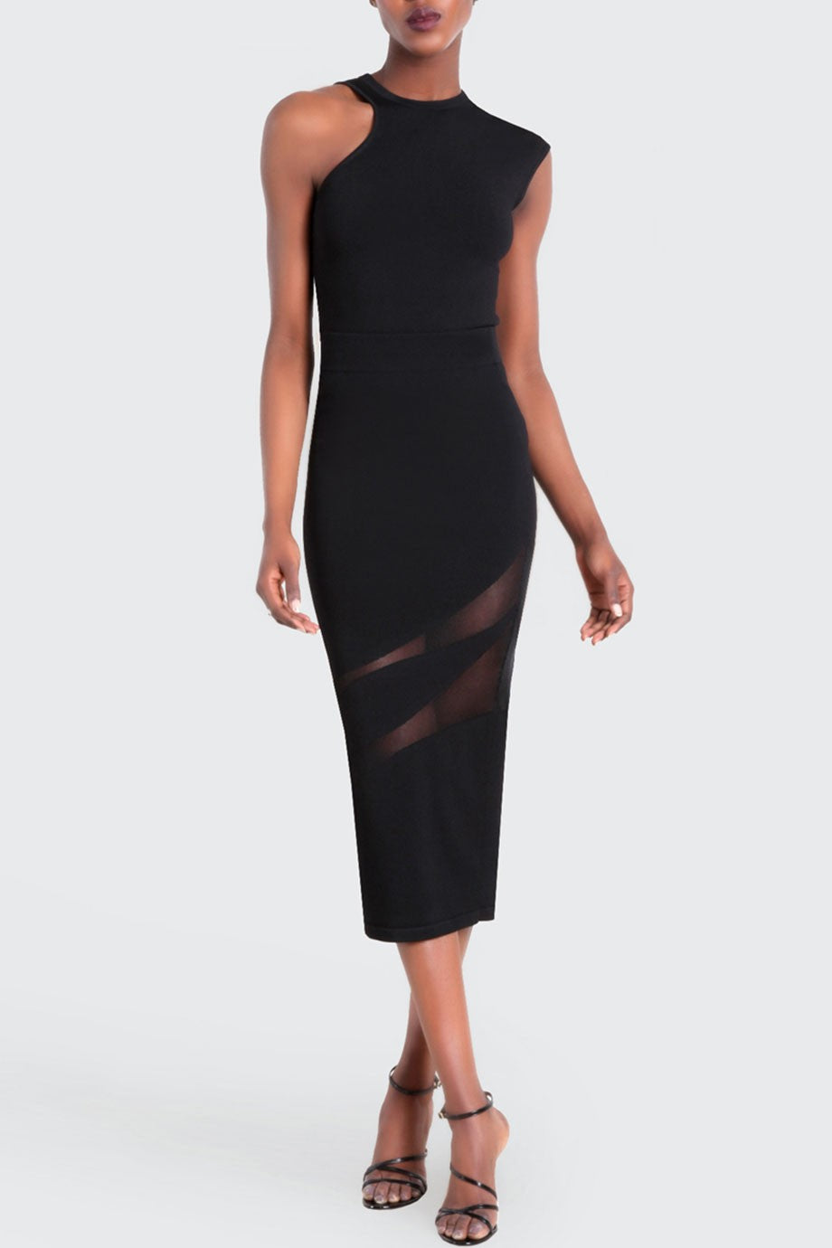 Black Amata Asymmetrical Crew Neck Top-Tops-Cushnie et Ochs-Max & Riley