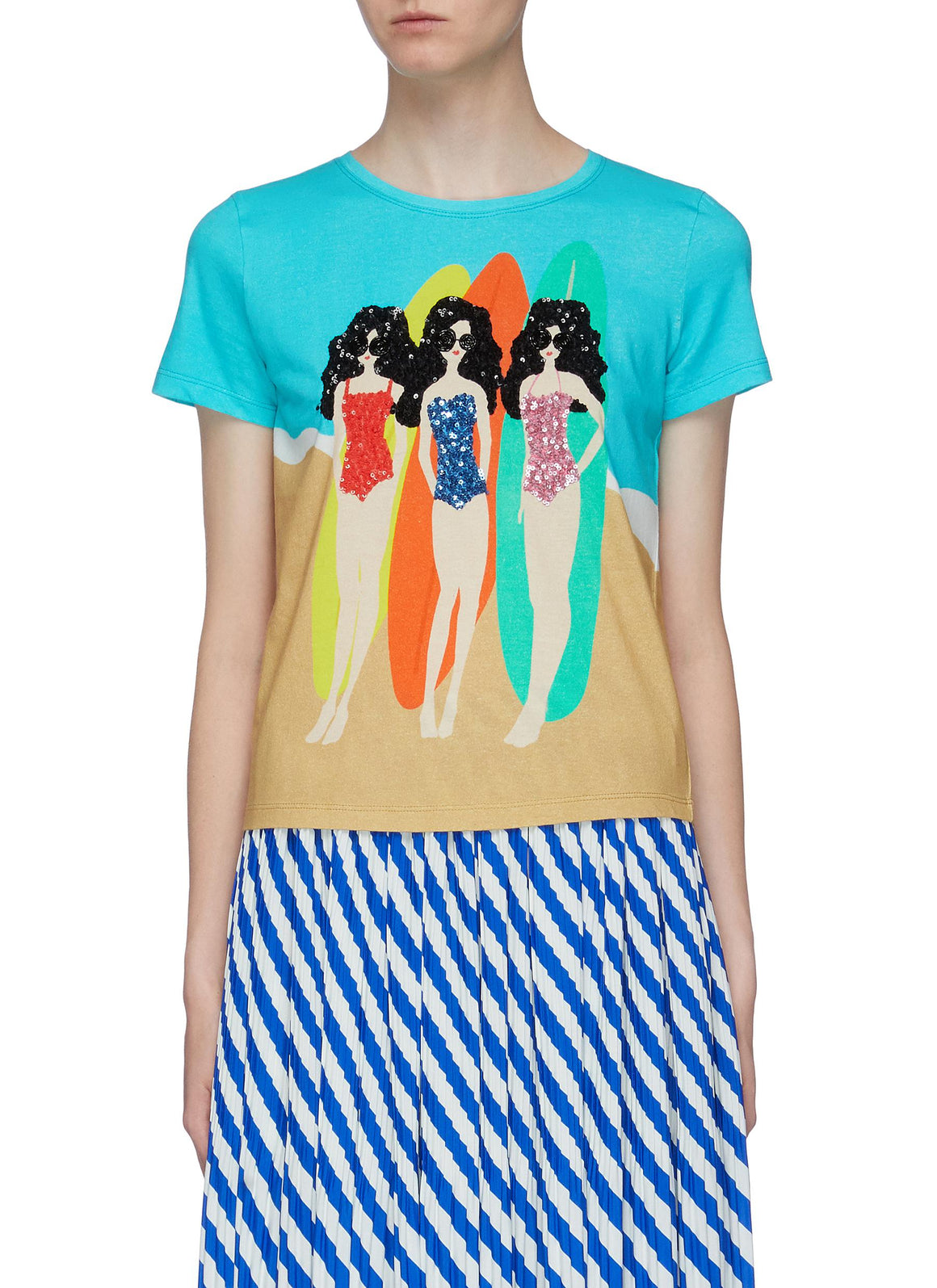 Rylyn Sequin Surfing Stace T-Shirt-Tops-Alice + Olivia-Max & Riley