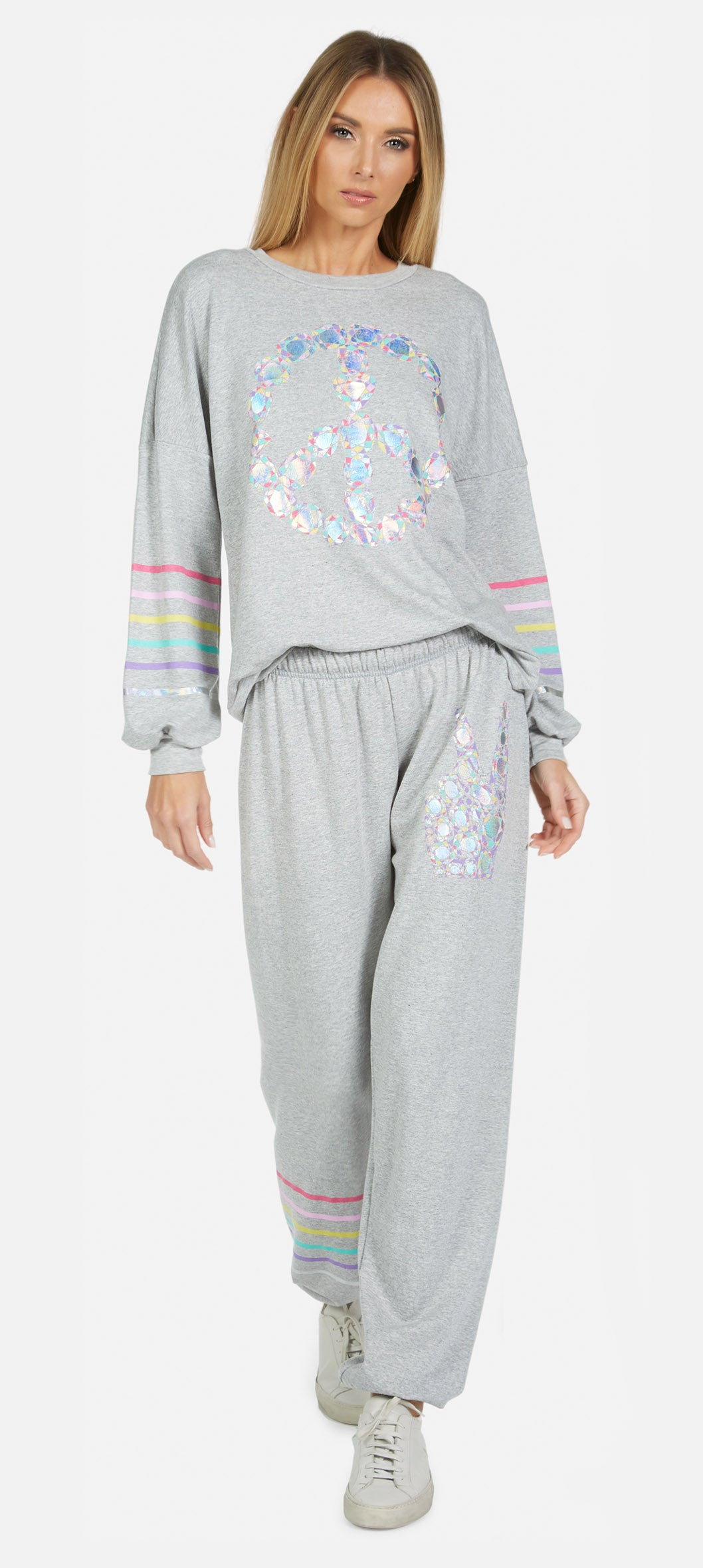 Tanzy Color Diamond Peace Sweatpants-Sweatpants-Lauren Moshi-Max & Riley