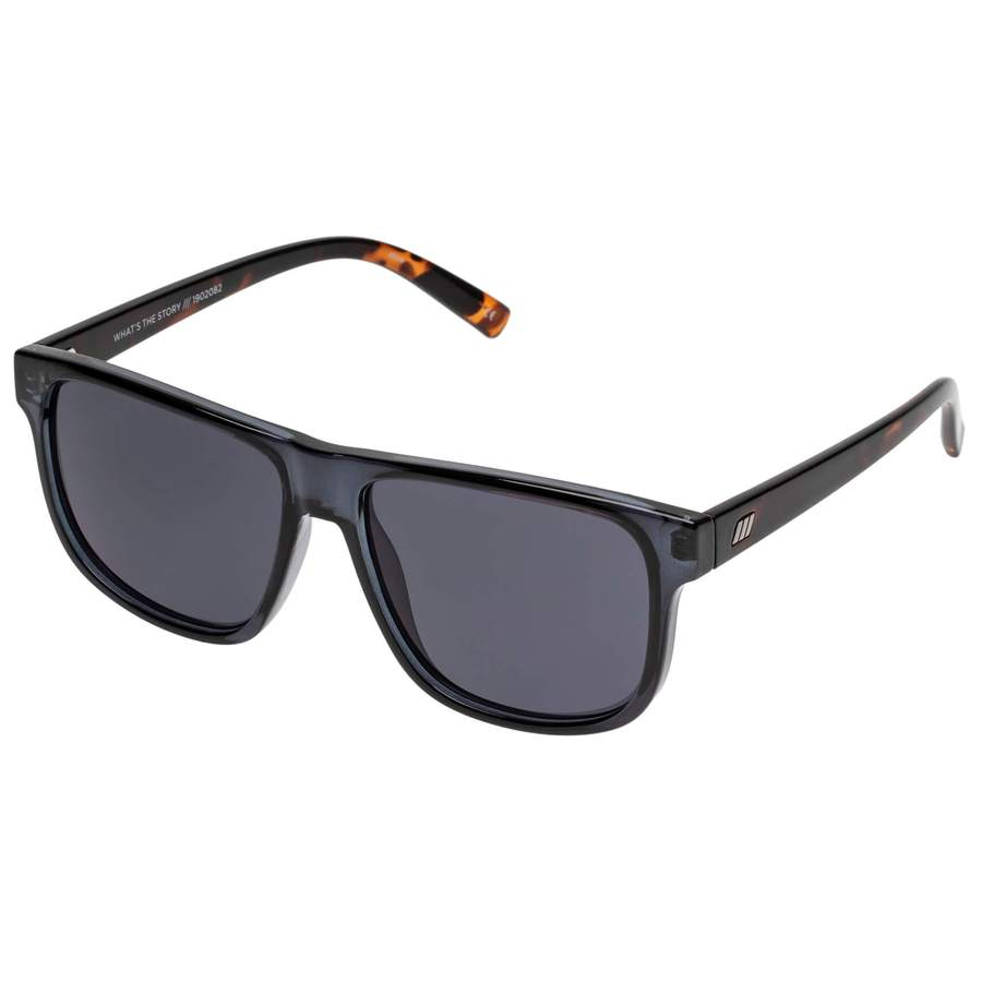 Oversized Sunglasses with Dark Lenses and Black Frame