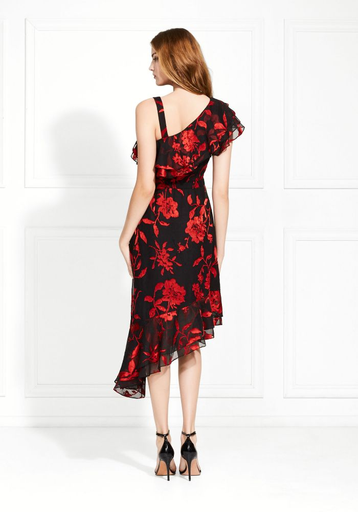 Antonia Satin Flower Burnout Dress-Dress-Rachel Zoe-Max & Riley