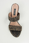 Leopard print sandal with leather sole