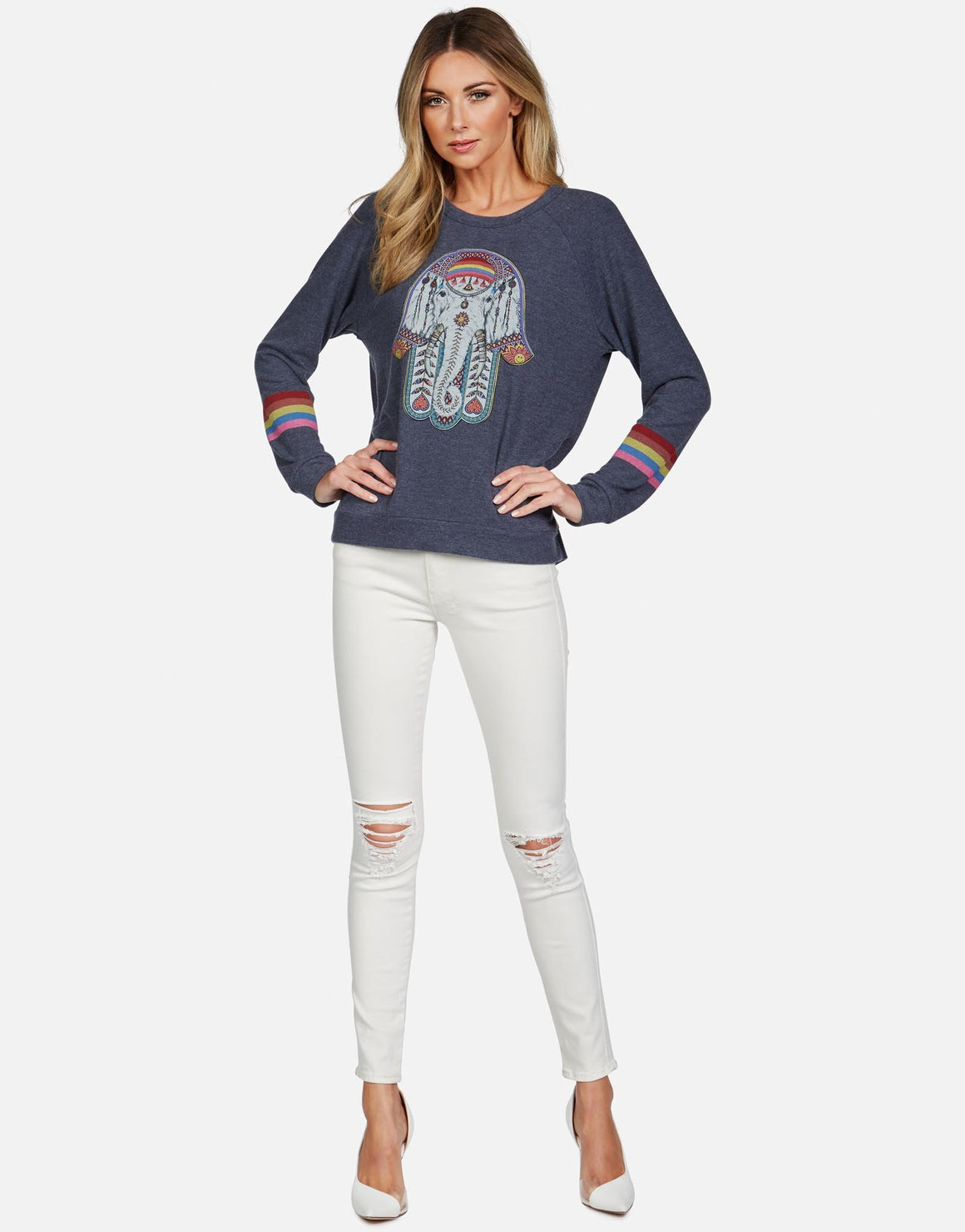 Everly Elephant Hamsa Sweatshirt-Bottoms-Lauren Moshi-Max & Riley