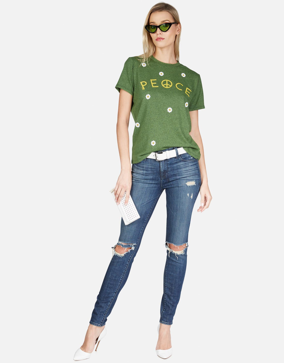 Peace Printed Green Graphic T-Shirt With Polka-Dots