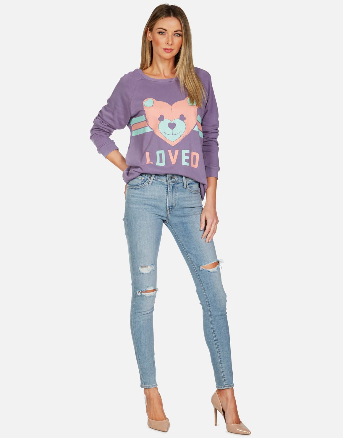 Noleta Striped Heart Teddy Bear Sweatshirt-Tops-Lauren Moshi-Max & Riley