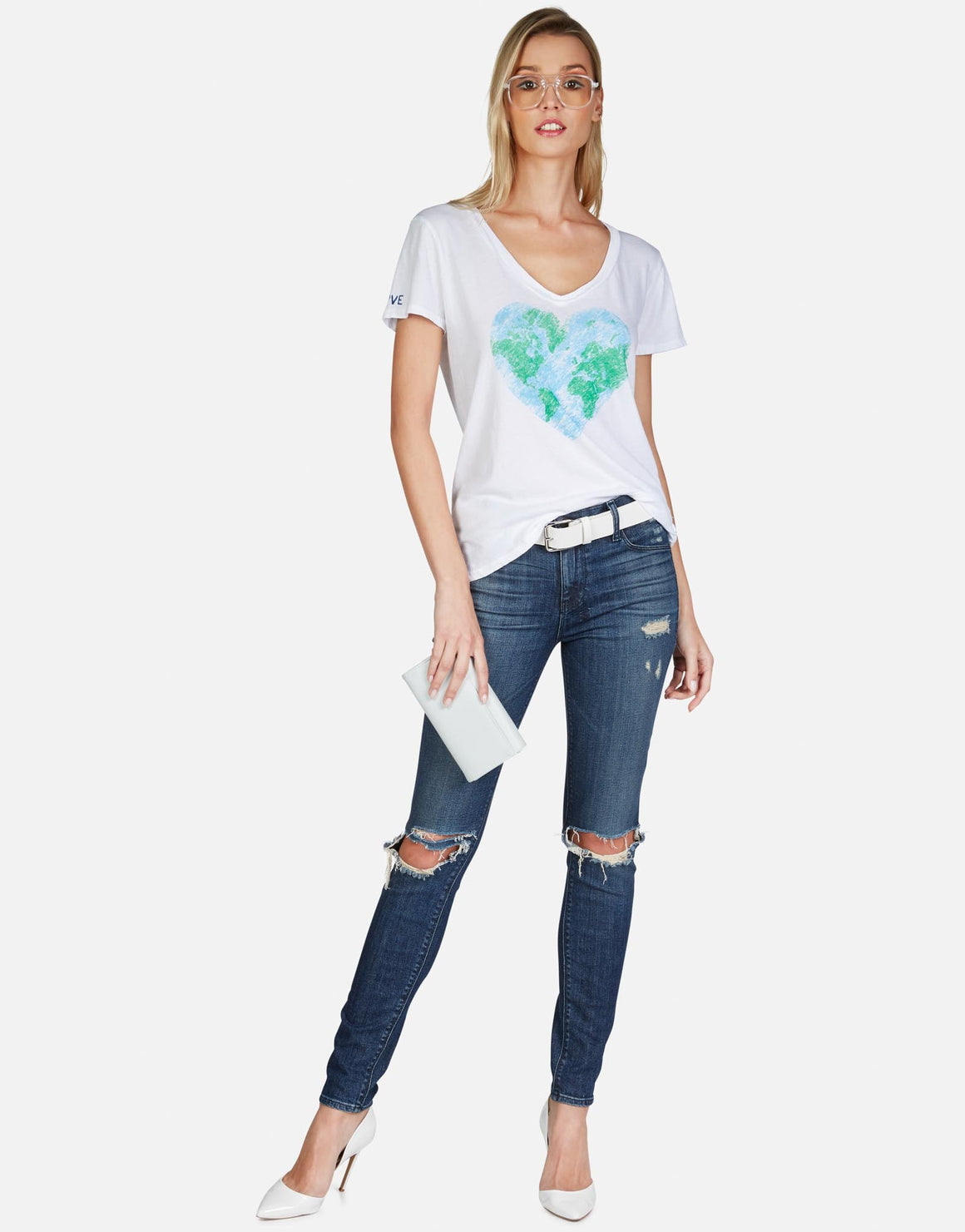 Cruz World Love V-neck Tee-Tops-Lauren Moshi-Max & Riley