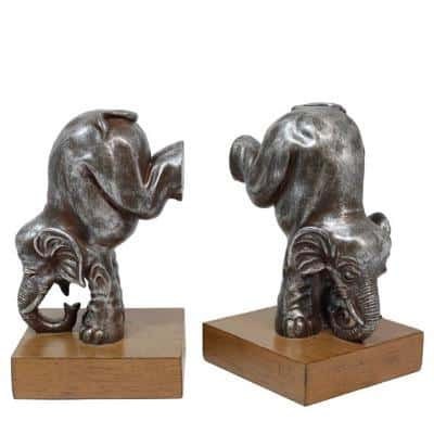 performing elephant bookends