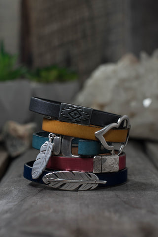 Fine Italian leather bracelets with charms and sliders from Rare Soul jewelry.