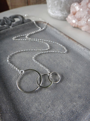 3 circle necklace | three circles necklace | interlocking circles | past present future | mama and baby | sterling silver necklace | rare soul jewelry | rare soul accessories