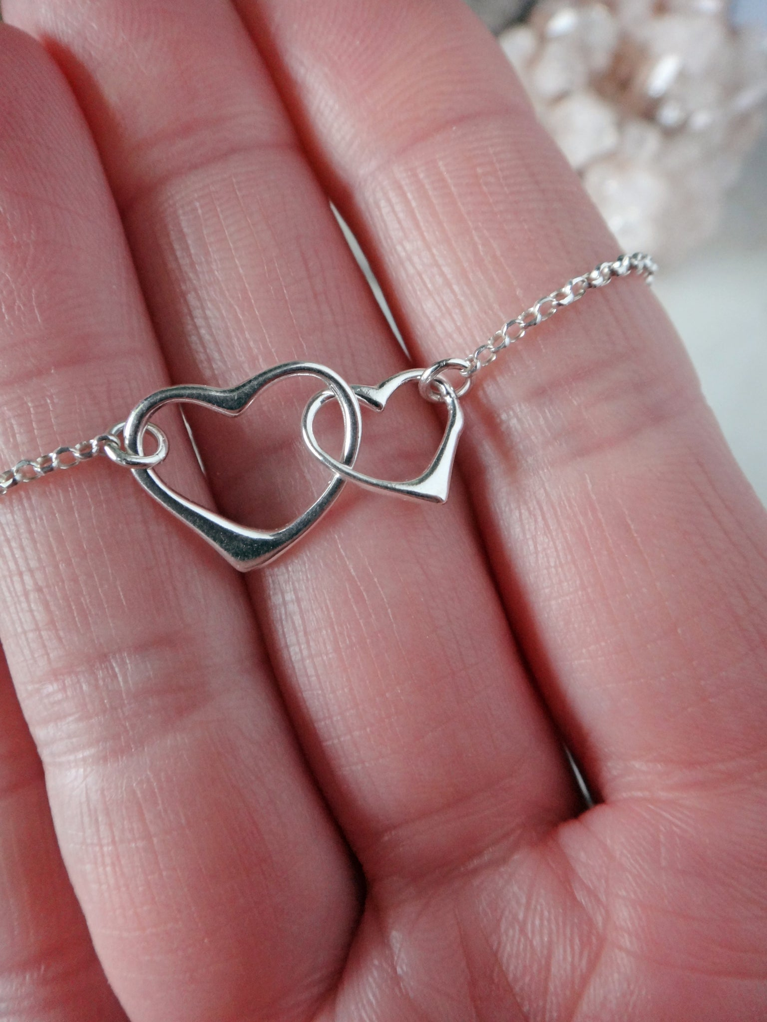 sterling silver heart necklace | linked hearts necklace |two of hearts necklace | rare soul jewelry | rare soul accessories