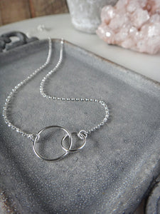 two circles sterling silver necklace | linked circles | mother and daughter necklace | rare soul jewelry | rare soul accessories