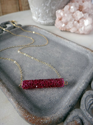 fuchsia swarovski crystal bar necklace | pink crystals | gold | rare soul jewelry | rare soul accessories