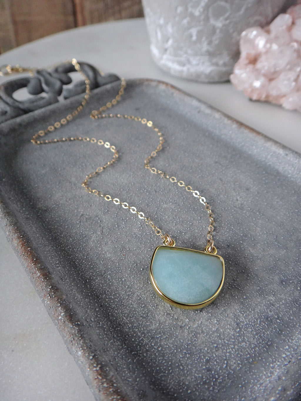 aqua blue amazonite and gold necklace | amazonite half moon | rare soul jewelry | rare soul accessories