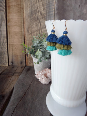 coastal | blue olive turquoise tassel earrings | tiered tassel earrings | rare soul jewelry | rare soul accessories