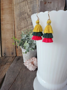 siesta colorful tiered tassel earrings | mustard forest hot pink tassel earrings | rare soul jewelry | rare soul accessories