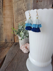 blue ombre tassel earrings | tiered tassel earrings | rare soul jewelry | rare soul accessories