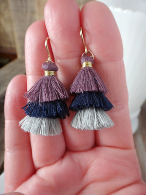 twilight tiered tassel earrings | mauve navy pale blue tiered tassel earrings | rare soul jewelry | rare soul accessories