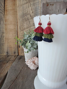 burgundy olive green navy blue tiered tassel earrings | tassel earrings | rare soul jewelry | rare soul accessories
