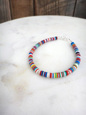 colorful african trade beads bracelet | vulcanite | vinyl | sterling silver | rare soul jewelry | rare soul accessories
