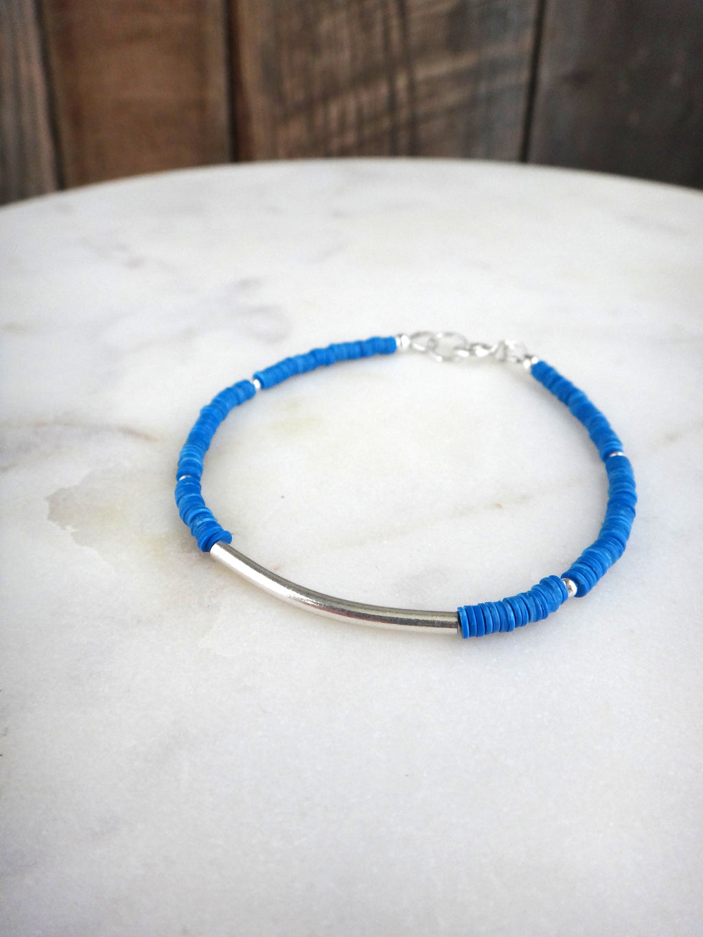 blue african trade bead bracelet | stacking bracelets | sterling silver | vulcanite vinyl | rare soul jewelry | rare soul accessories