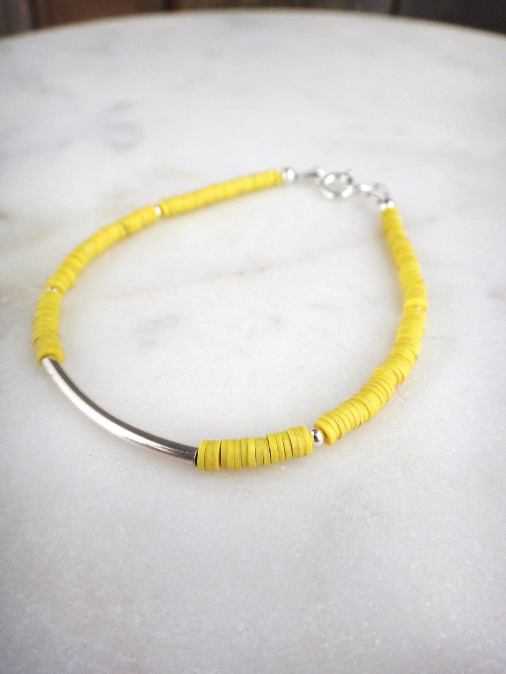 colorful african trade bead bracelet | yellow stacking bracelet | vulcanite vinyl | sterling silver | rare sou jewelry | rare soul accessories