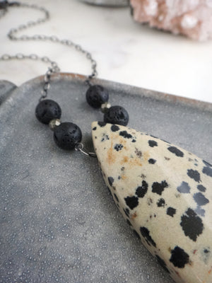 black and cream bold statement necklace | spotted dalmatian jasper | lava essential oil diffuser beads | pyrite | rare soul jewelry | rare soul accessories