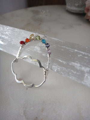 rainbow and cloud necklace | colorful gemstone necklace | silver lining | rare soul jewelry | rare soul accessories