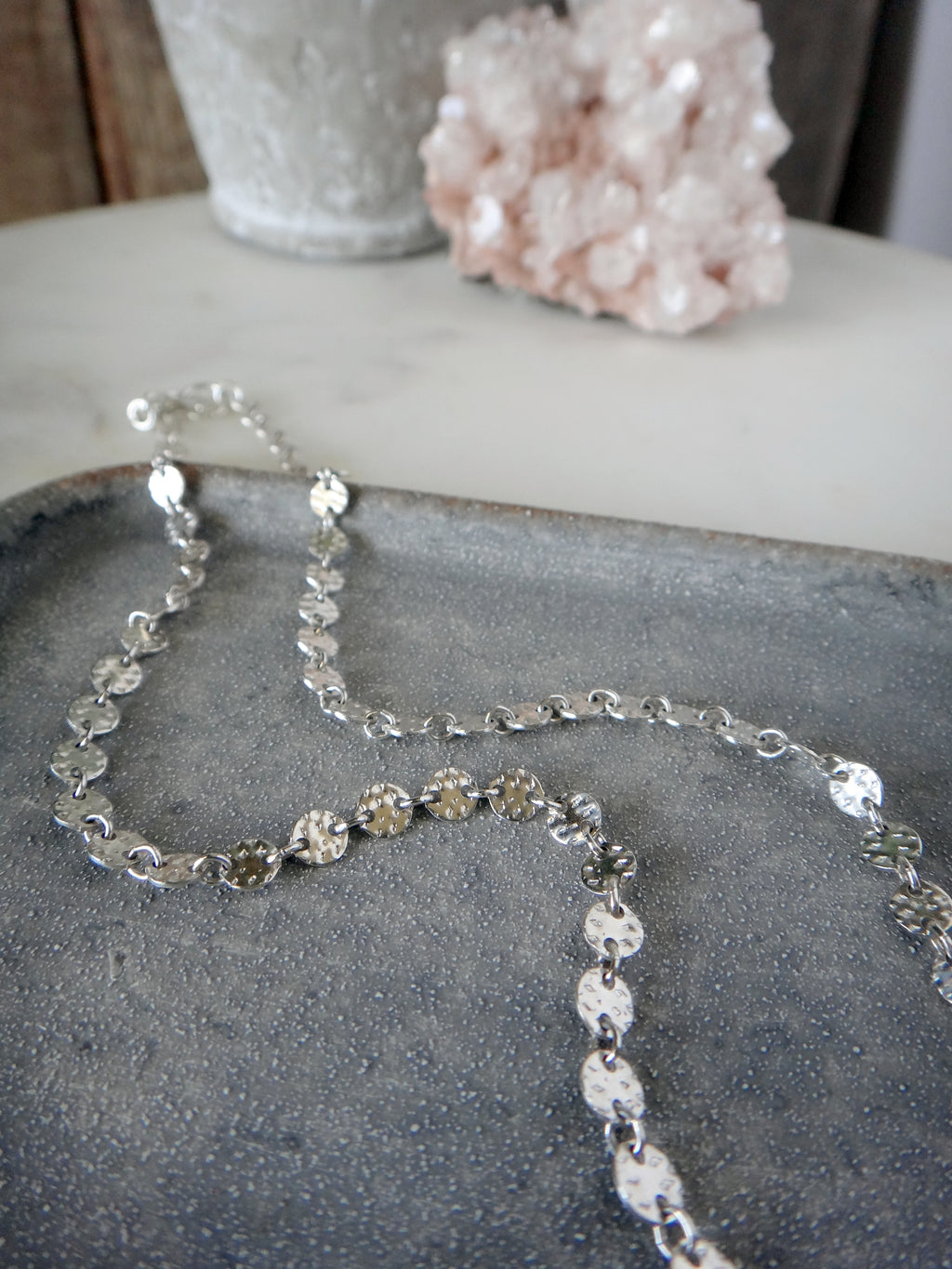 sterling silver sequin disk chain choker necklace | rare soul jewelry | rare soul accessories