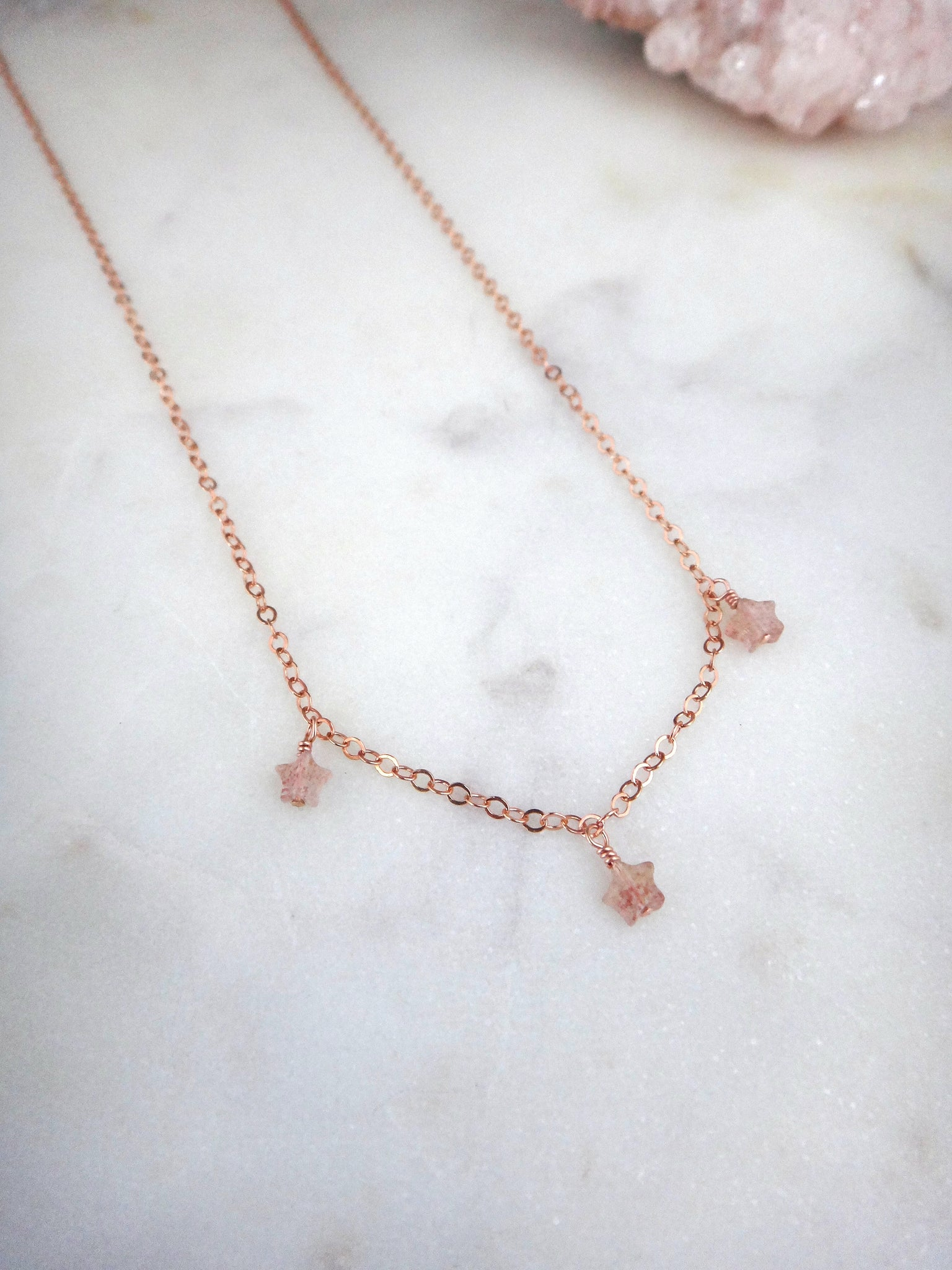 strawberry quartz stars and rose gold necklace | heavenly | star necklace | rare soul jewelry | rare soul accessories
