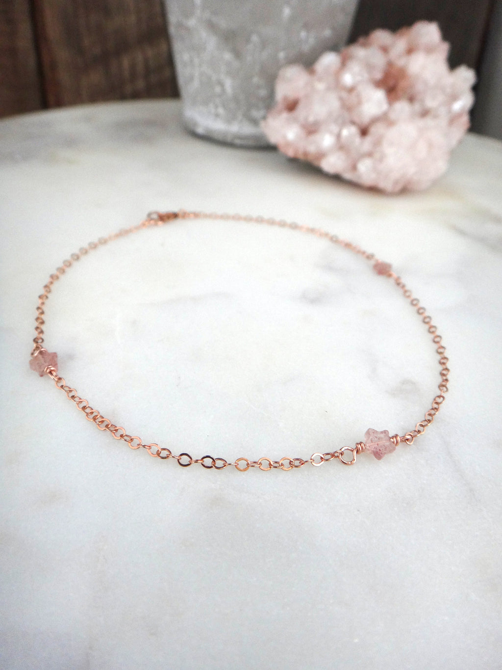 dainty star anklet | strawberry quartz and rose gold | rare soul jewelry | rare soul accessories