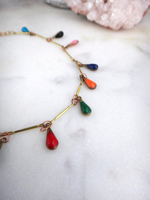 wild child anklet | brass chain with colorful teardrops | rare soul jewelry | rare soul accessories