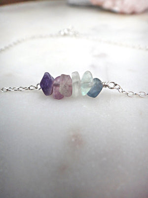 rainbow fluorite and sterling silver anklet | seaglass | rare soul jewelry | rare soul accessories