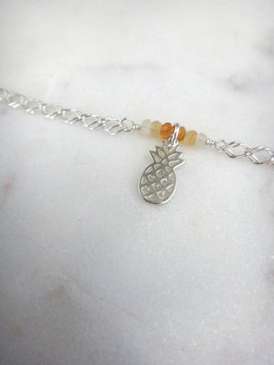 pineapple and citrine sterling silver anklet | rare soul jewelry | rare soul accessories