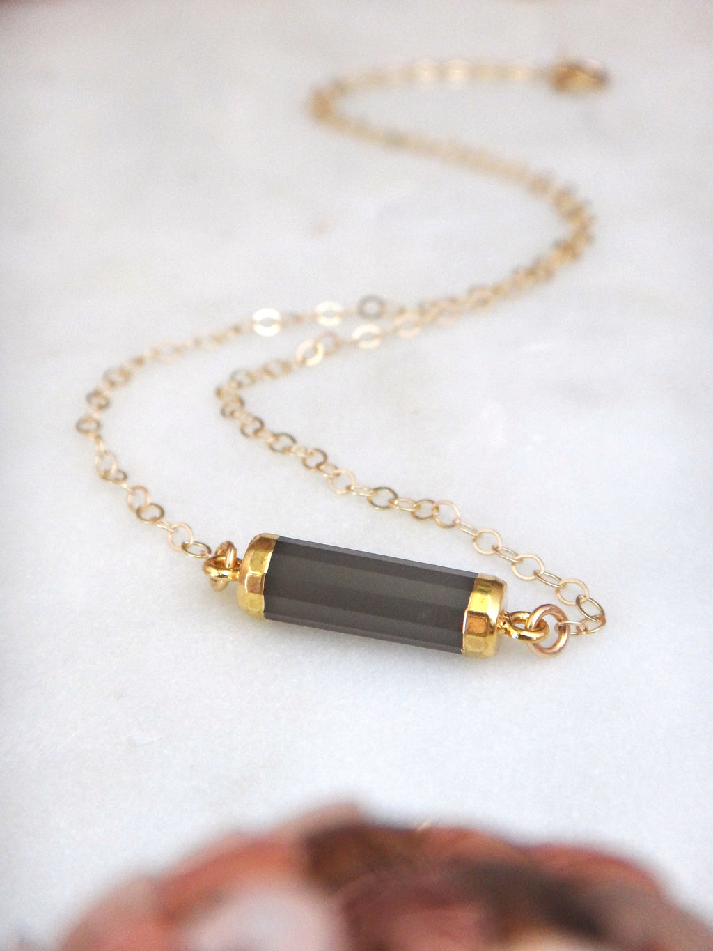gray moonstone and 14k gold fill cylinder bar necklace | rare soul jewelry | rare soul accessories