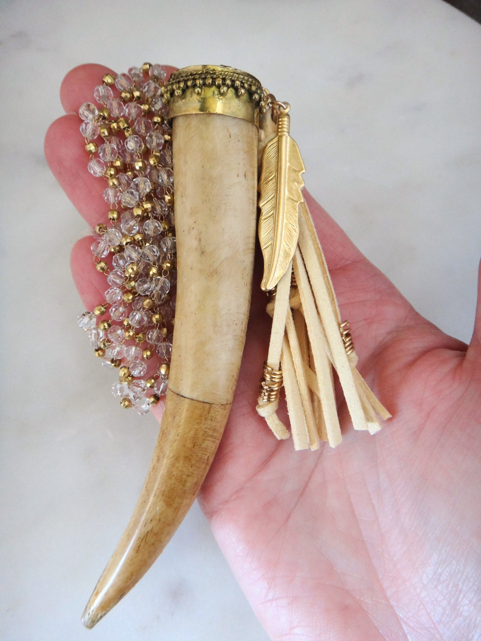 boho ox bone tusk horn necklace | tassel | brass feather | long hippie necklace | rare soul jewelry | rare soul accessories