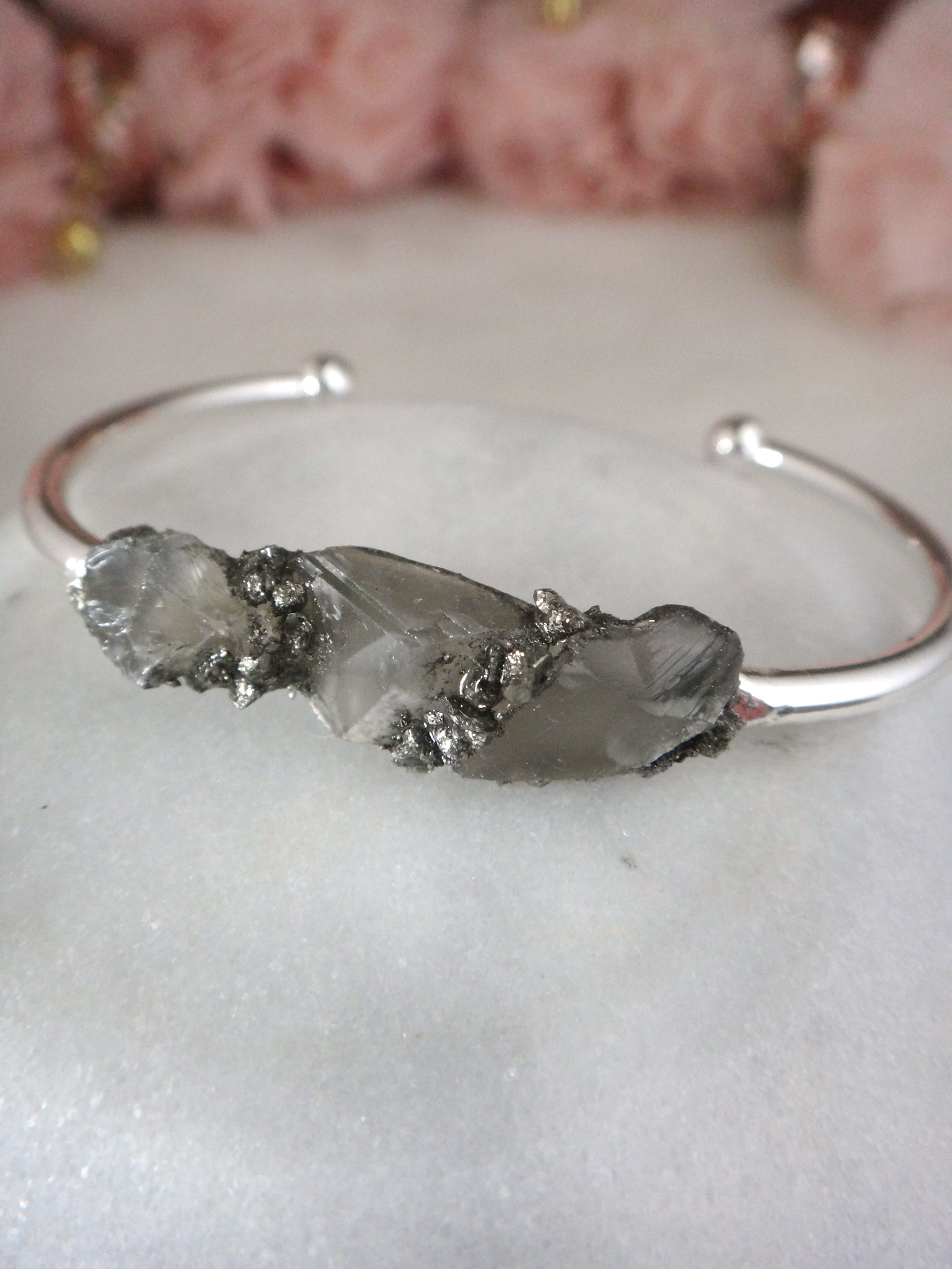 raw gray moonstone gem and crushed pyrite silver cuff bracelet | rare soul jewelry | rare soul accessories