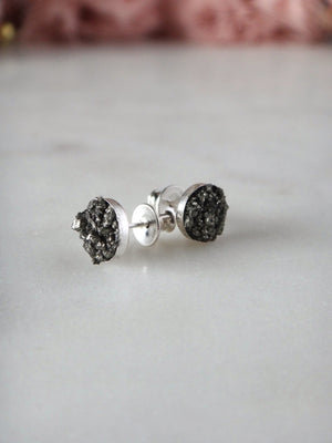 crushed pyrite plain sterling silver bezel stud earrings | rare soul jewelry | rare soul accessories