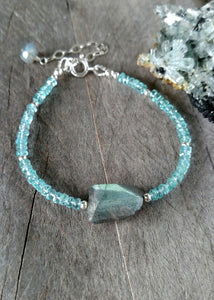 labradorite and apatite gemstone bracelet | one size fits most | Rare Soul jewelry
