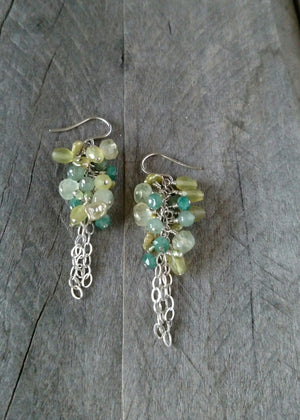 spring green earrings - mixed green gemstones and sterling silver