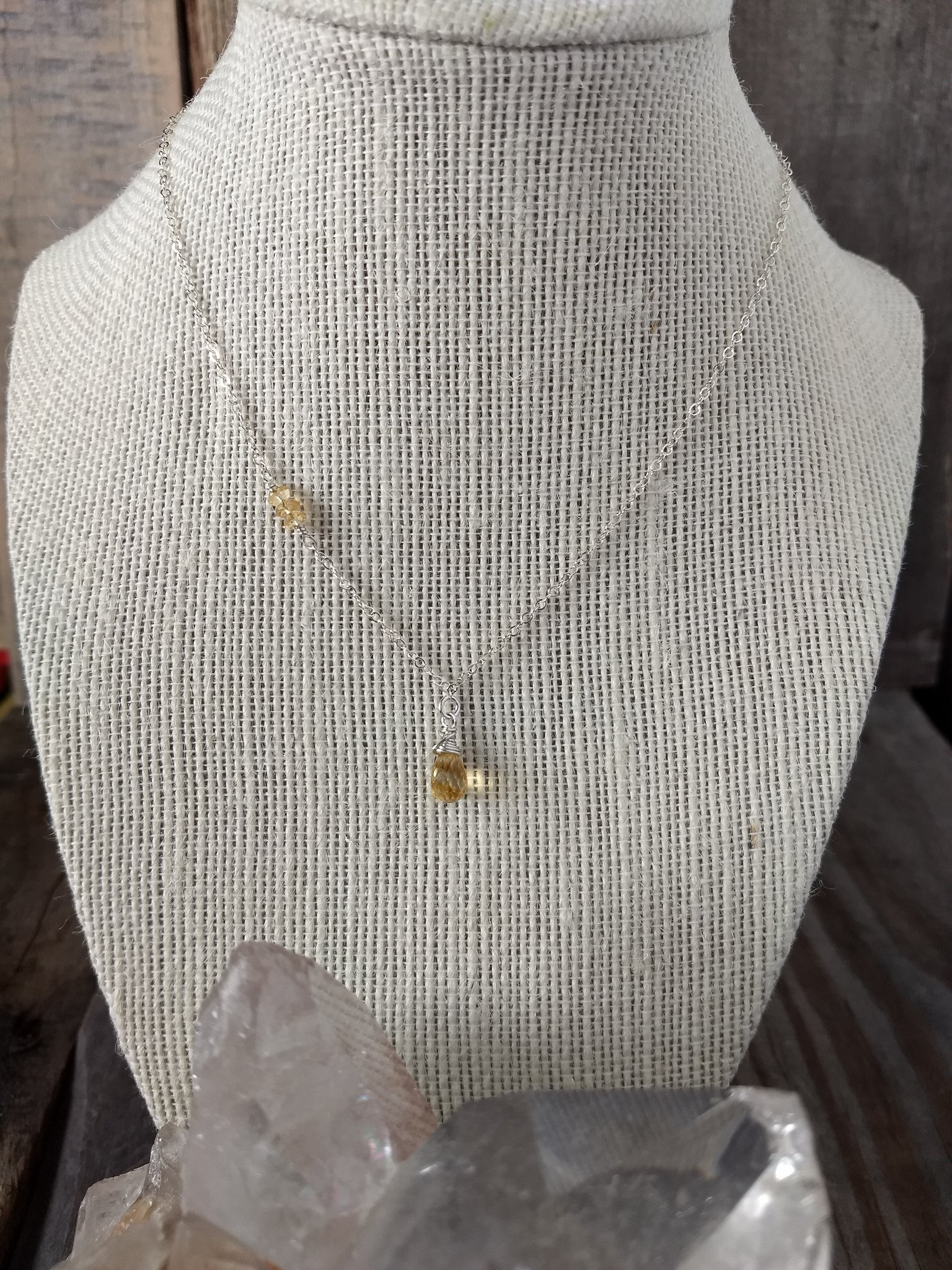 doux necklace | dainty gemstone necklace | citrine | sterling silver | Rare Soul jewelry
