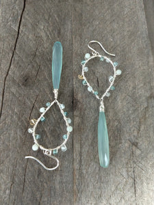 aqua chalcedony statement earrings | aqua gems and citrine | Rare Soul jewelry
