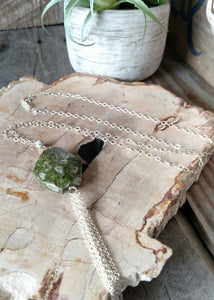 african green jasper and sterling tassel long necklace | Rare Soul jewelry