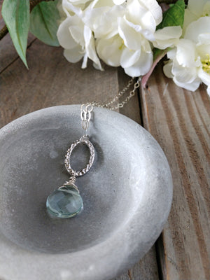 aqua quartz | sterling silver | reflection necklace | rare soul accessories