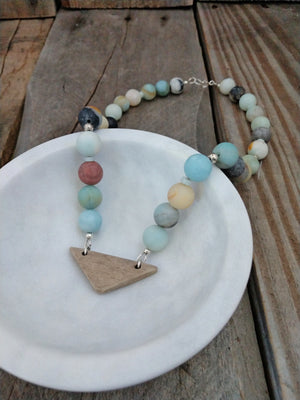 matte round amazonite and black tourmaline | wooden triangle | sterling silver | choker | Rare Soul Accessories