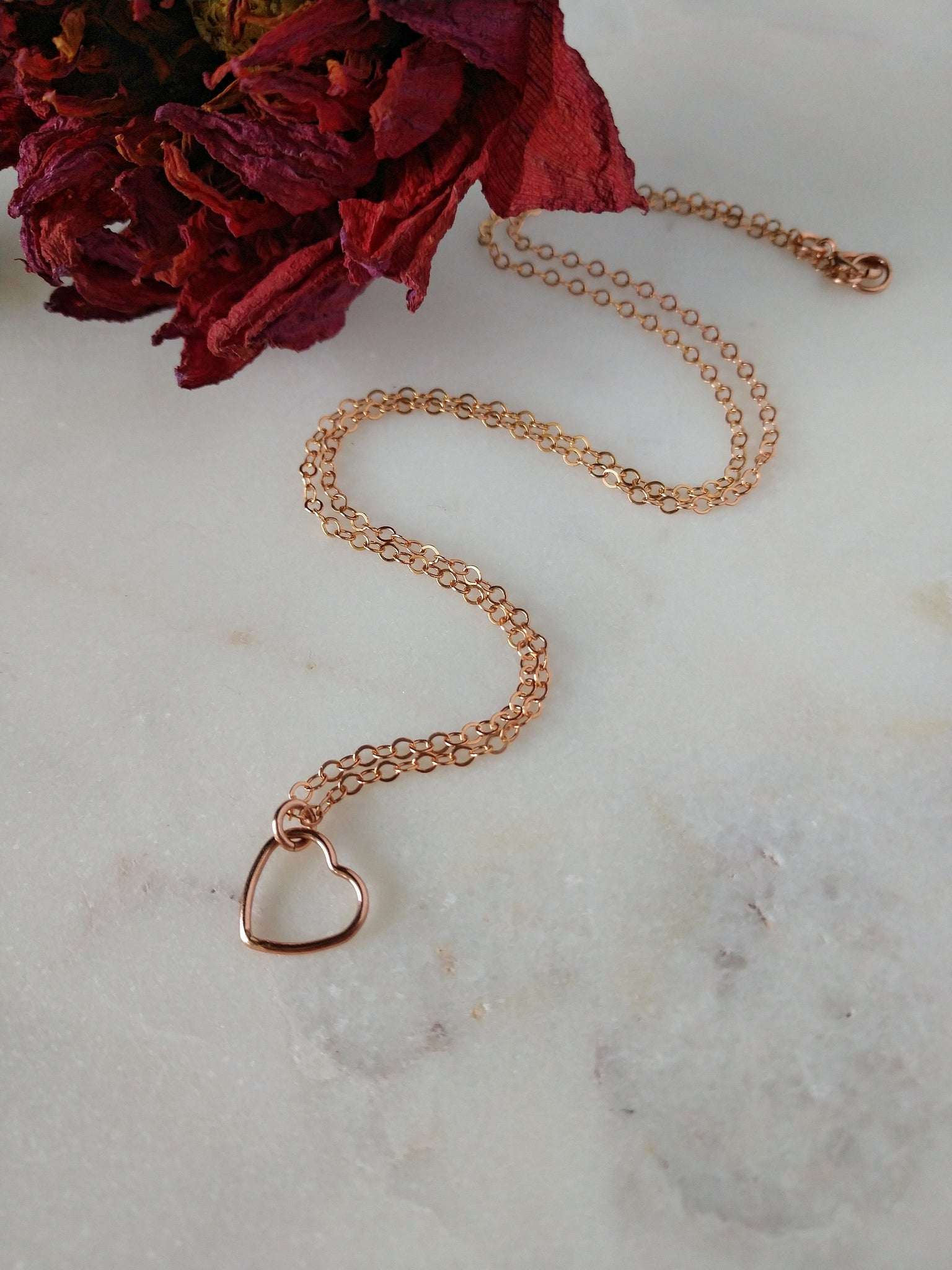 rose gold heart necklace | dainty | feminine | gift for daughter | rare soul accessories | handcrafted jewelry