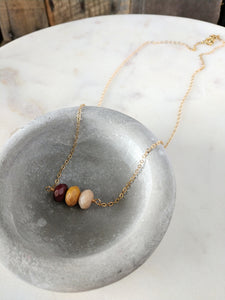 moukaite | mookaite | gold | natural neutral necklace | rare soul accessories | handcrafted jewelry