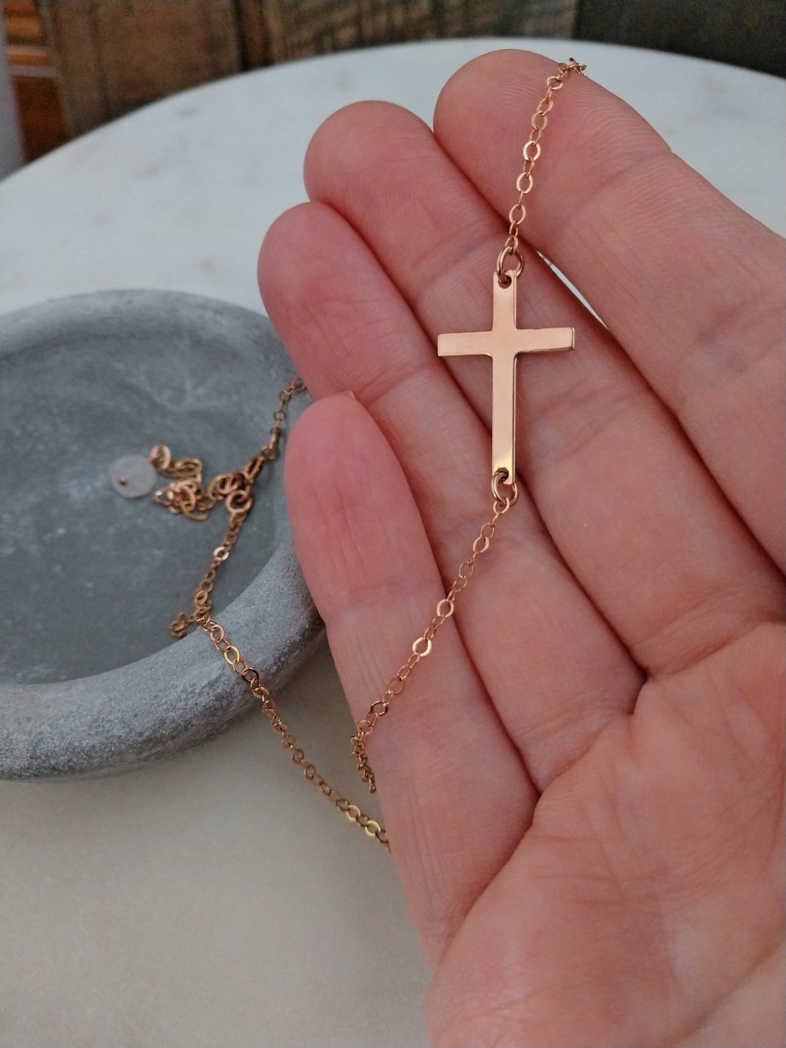 sideways cross necklace | rose gold cross | choker necklace | Rare Soul jewelry